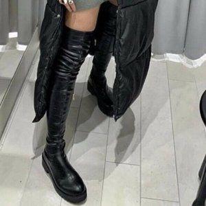 NEW Zara Low Heel Lug Sole XL Boots Over Knee 9